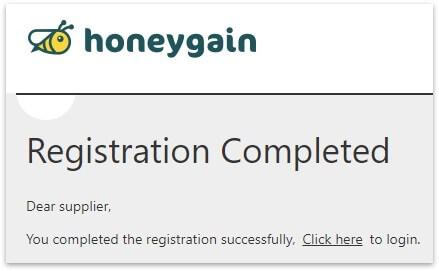 honeygain金流平台註冊成功畫面