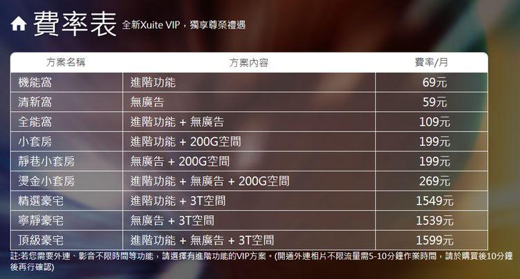 Xuite VIP 費率表